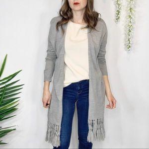 KENAR duster cardigan tassels gray open front